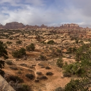 Panoramic view deep into Canyonlands National Park.