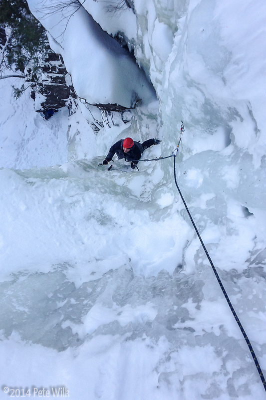 Chris following up Dracula (WI4+) a long time item on my ice climbing ticklist.