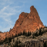 The Finger basking in the warm glow of sunrise.  Our route is out of view on the NE face, which is the right skyline.