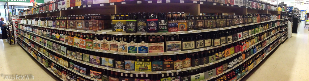 The majesty of Amity Wine and Spirits in Westville.  This is half of the domestic selections.  Imports are nearly as big.
