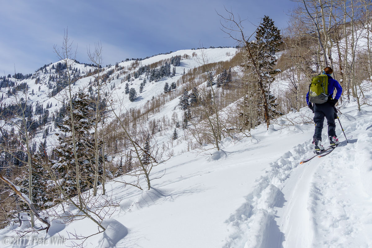 Carly enjoying the views up Silver Fork on a bluebird day.