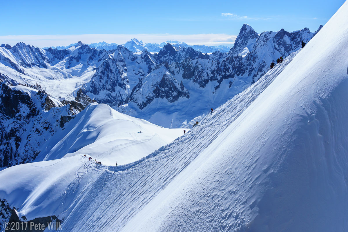 Looking down the east ridge out of the Aiguille du Midi.  From the gate that enters this ridge you can more or less slip and fall and end up in Chamonix.