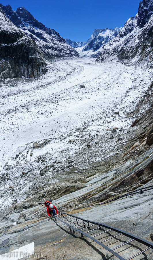 Hiking ladders in ski boots is a little weird.  Mer de Glace in the background.