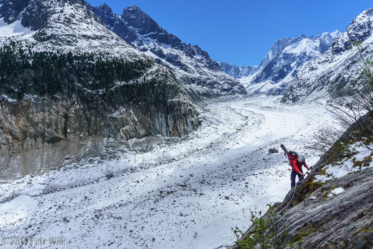Adam finishing up the ladder section, now high about the Mer de Glace.