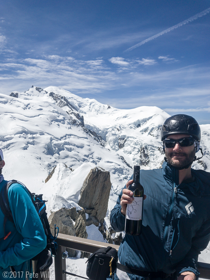 Summit wine.  Its France, they don't do PBRs.  Mont Blanc in the background.