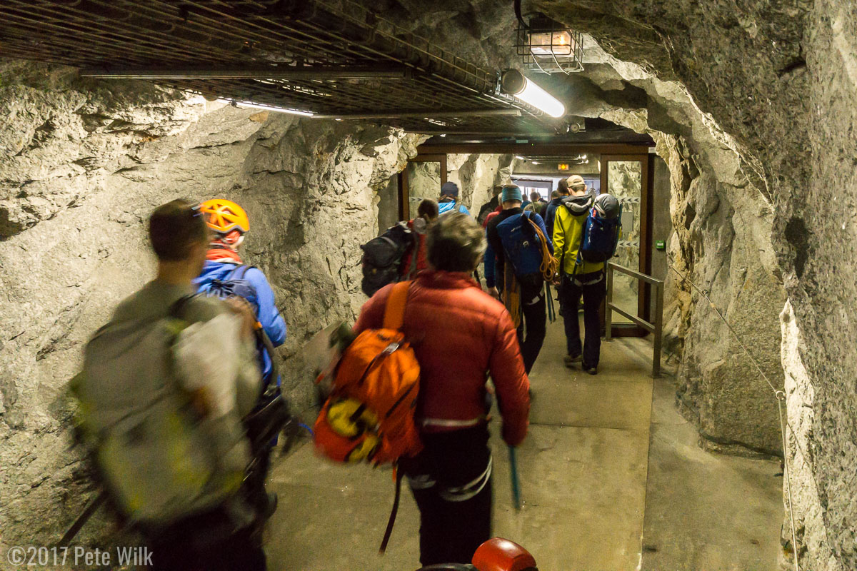 Once at the top of the telepherique theres a rock tunnel before getting onto the bridge.