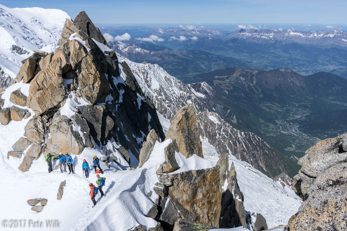 Enjoying the view just into the classic Cosmiques Arete.