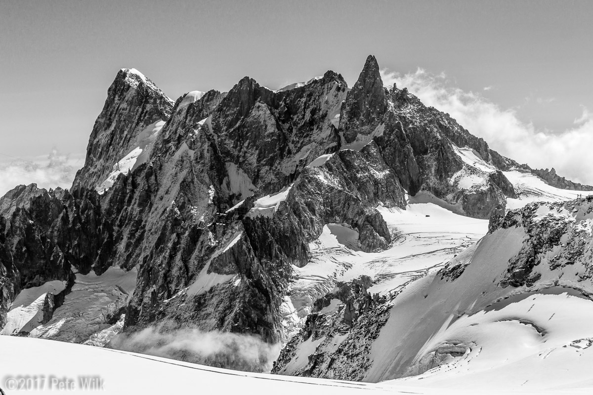 Looking towards the Dent du Geant.  The stark contrast between the rock and snow is one of the reasons I love the mountains.  You\'d be hard pressed to find a more stunning example than in Chamonix.