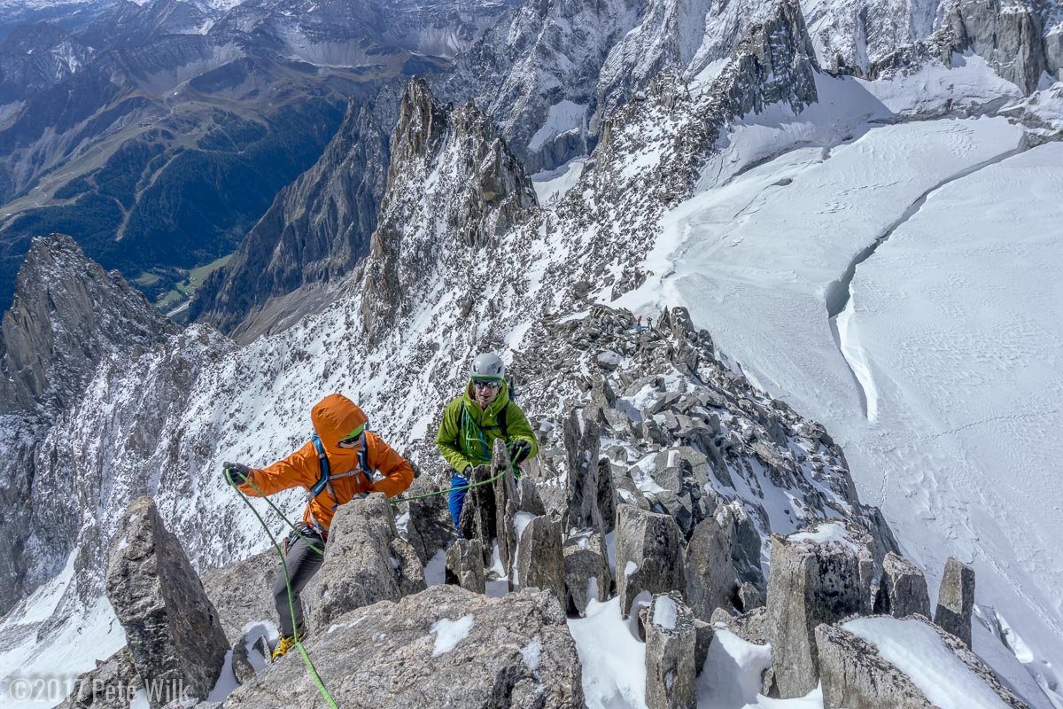 Me leading the way along the Aiguille d'Entreves ridge.