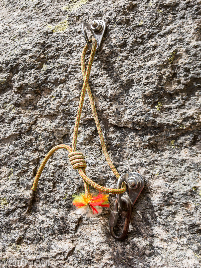 Manky anchor style that passes for the norm at this crag.