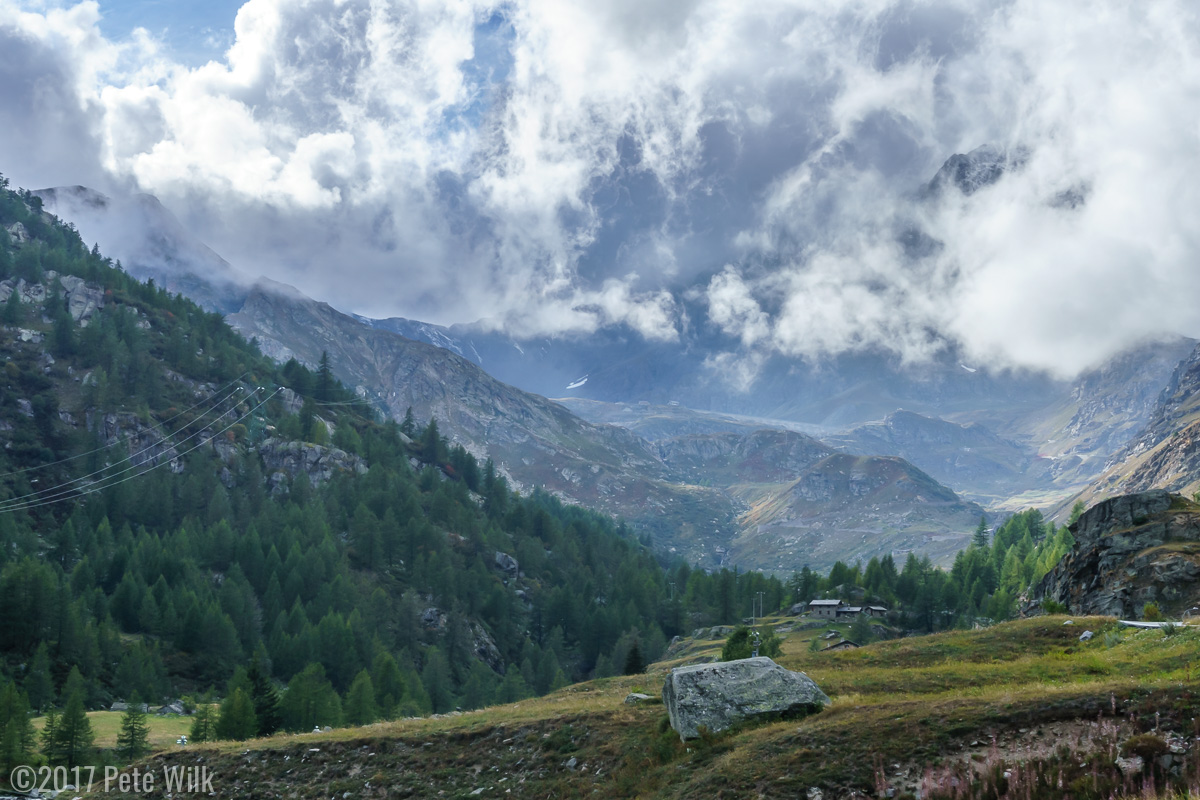 Heading up from Ceresole towards the National Park.  The wispy clouds were constantly moving, disappearing and reappearing.