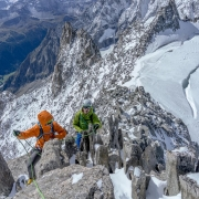 Me leading the way along the Aiguille d\'Entreves ridge.