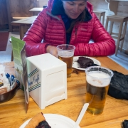 "Beers and pie before we even get off the mountain in the Torino ""Hut\""."