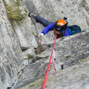 Carly coming up P2 of one of the lines we did.  The climbing was great varied crack climbing.