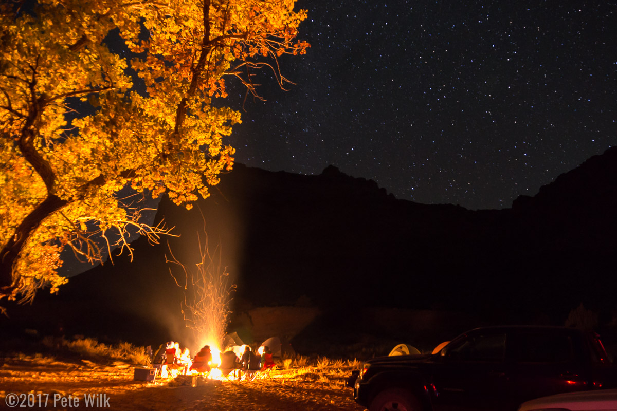 Camp fires and stars, always a good combination.