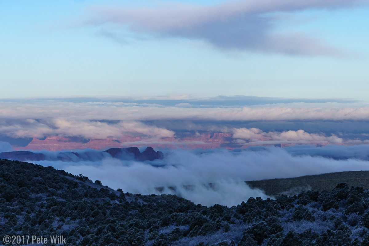 Sunrise with an undercast down in the desert.