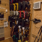 The cabin, depsite being in its first season of operation, was quite plush. Here's the boot drying rig.