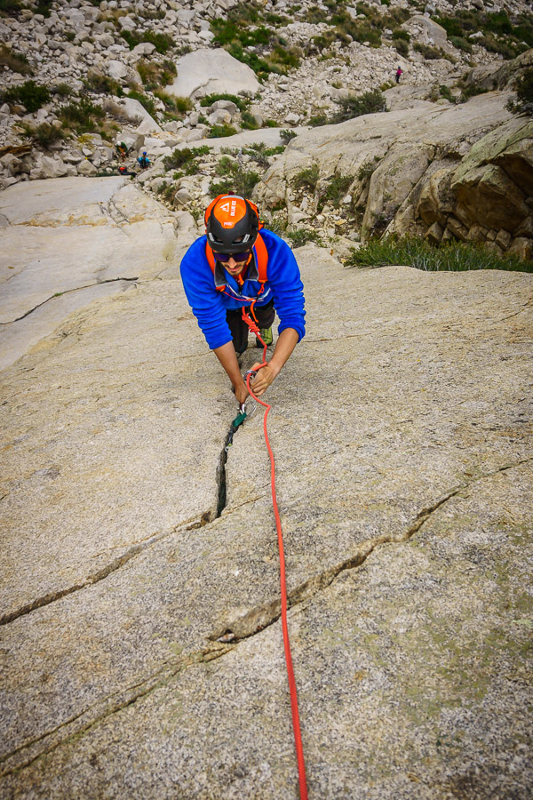 Nearing the top of the nice crack.