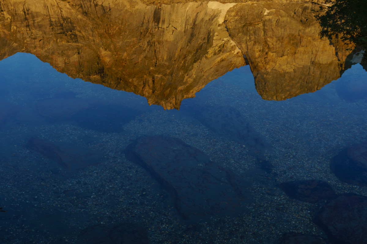 Reflections of water and mountains.