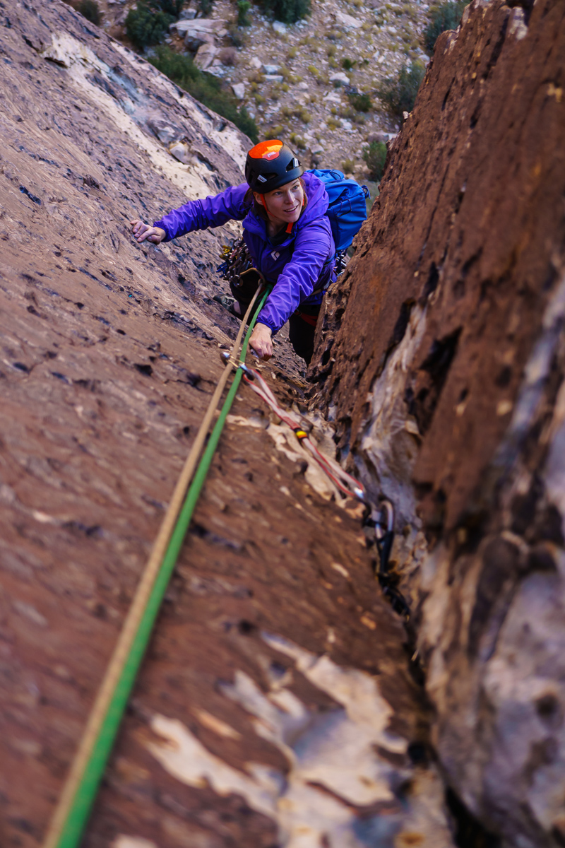 Carly coming up the very fun corner on Lotta Balls (5.8).