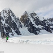 Skiing parallel to a massive crevasse.