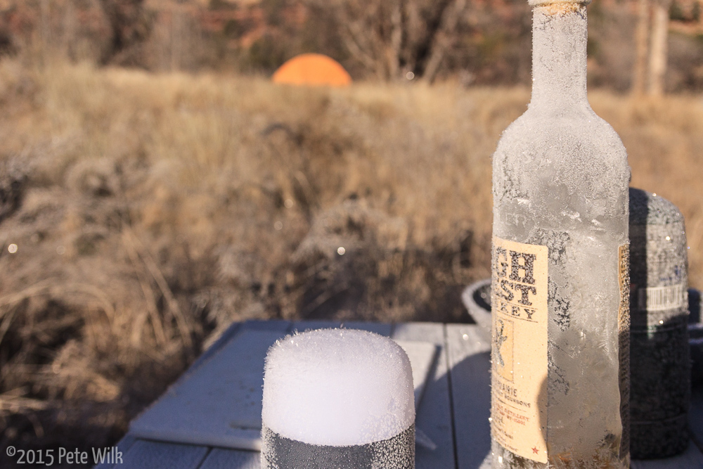 Frosty morning after Thanksgiving.  The whiskey was no worse for wear, though we were.