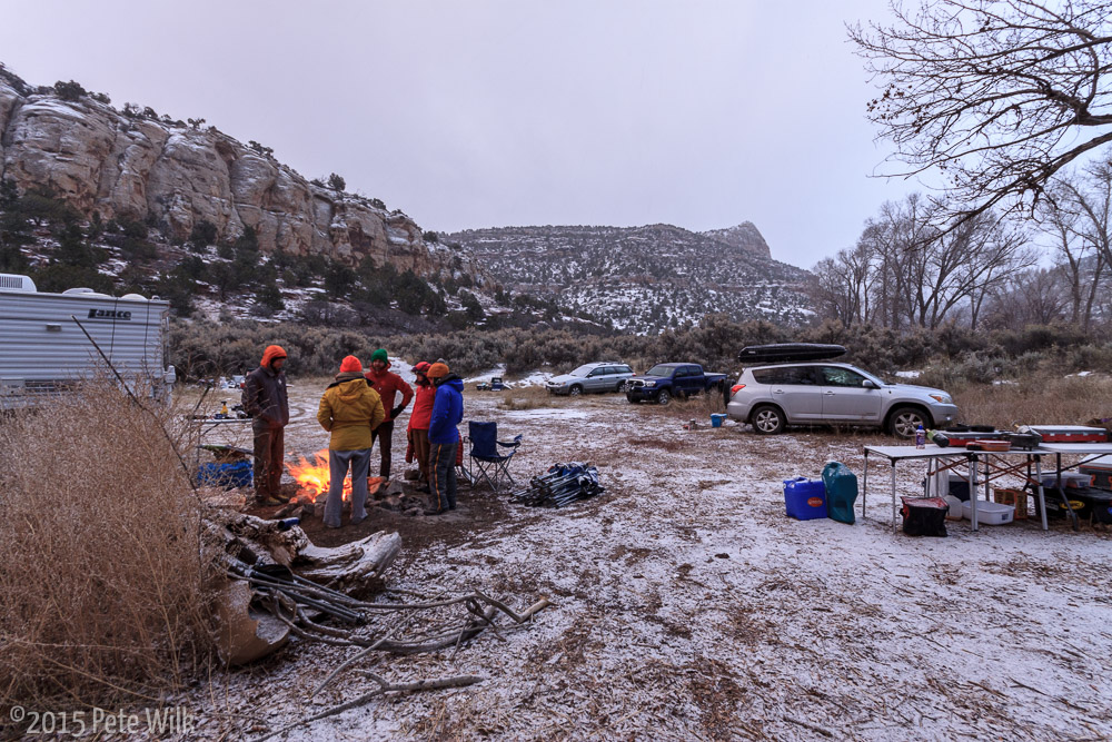 Back at camp.  A snow storm rolled through and left a dusting.  Matt, Carley and I decided we didn't like the prospects of the weather for the remainder of the weekend so we headed back to SLC.