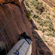 I did the climbing on the first three pitches which meant I also hauled the pig holding all our supplies to stay overnight.  My performance on these pitches wasn\'t good and I hung and pulled my way through the money 5.11a pitch.
