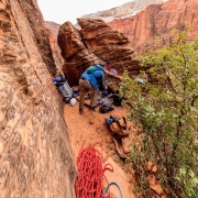 Home sweet home for the evening.  The ledge is big enough and protected enough that unroping is safe, though we did stay roped at night when sleeping.