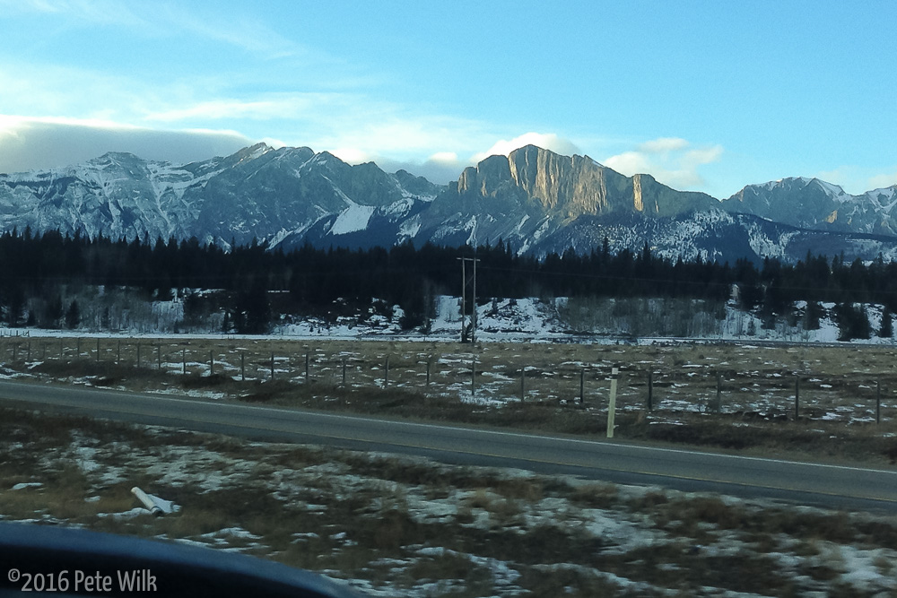Headed into Canmore from Calgary.  Mt. Yamnuska is the obvious cliff.