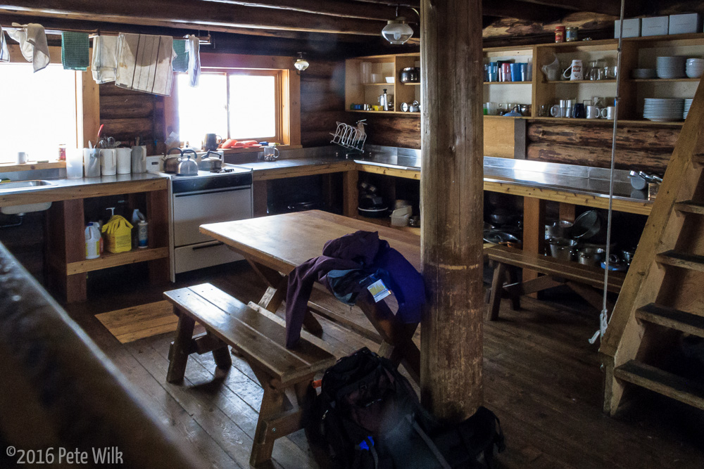 The kitchen area of the Wheeler Cabin.  There is a mirror image of this behind me.  Very well stocked kitchen.