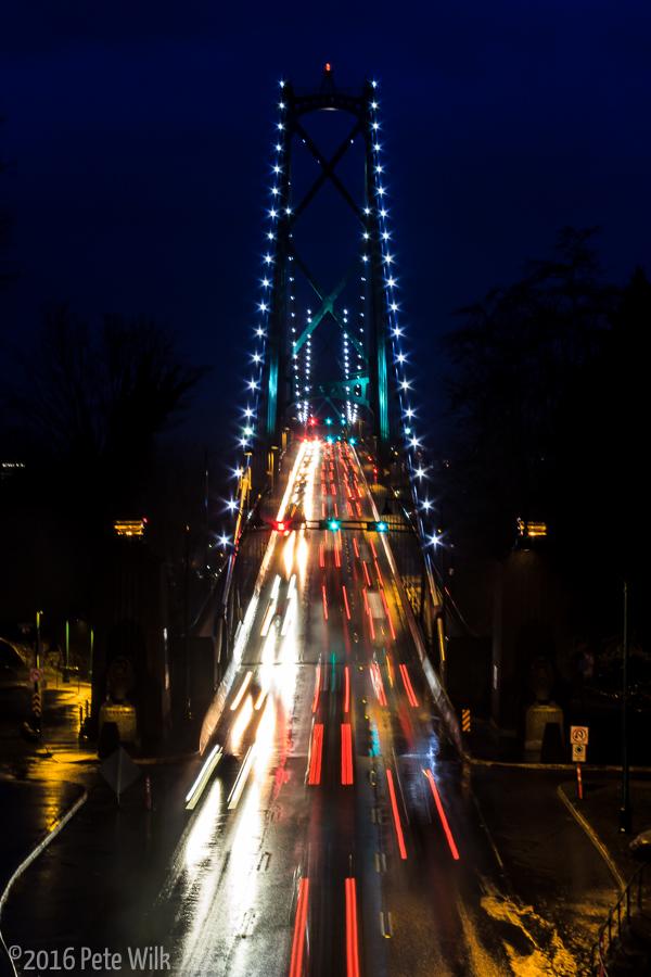 Lions Gate bridge at dusk.