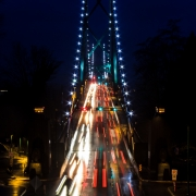 Lions Gate bridge at dusk.