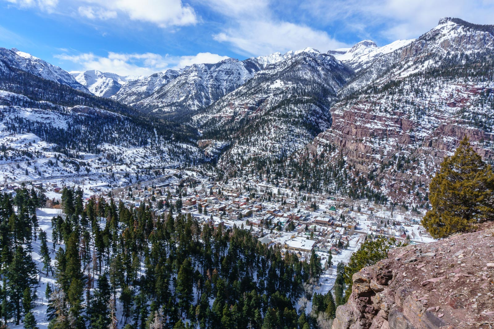 View of Ouray from above the town.