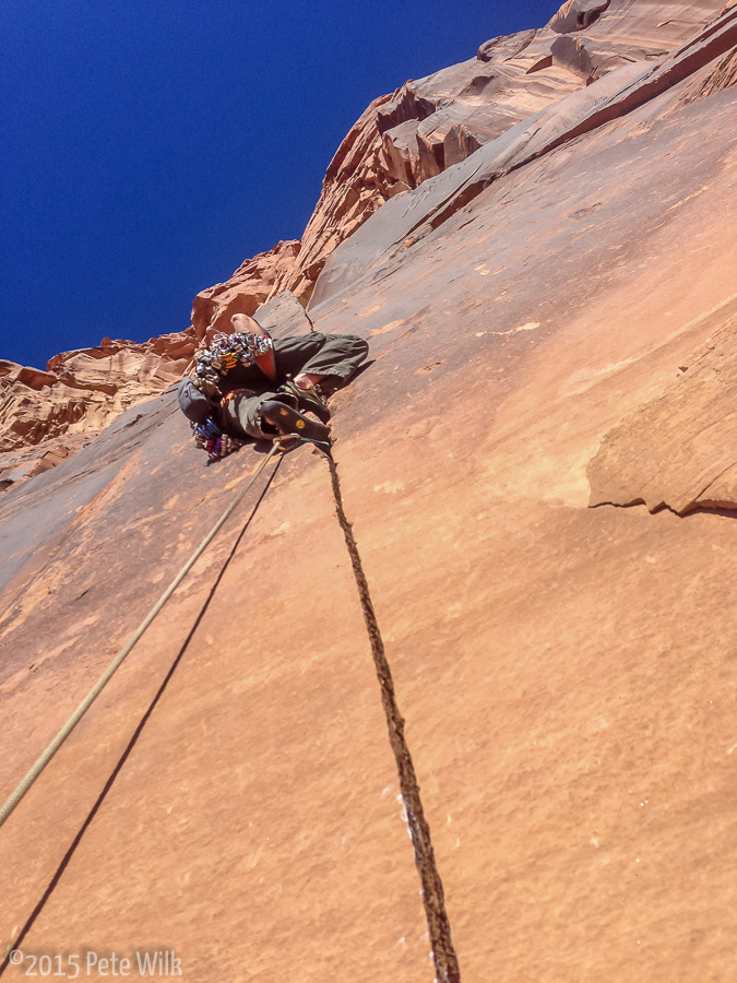 New routing on Matt's route Misfire (5.11-) on the Jacob Dylan Wall.
