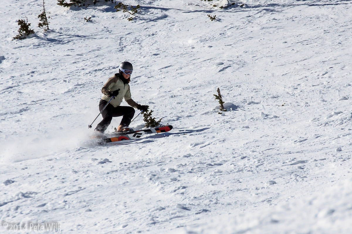 Carly carving up some turns on P-Zone.