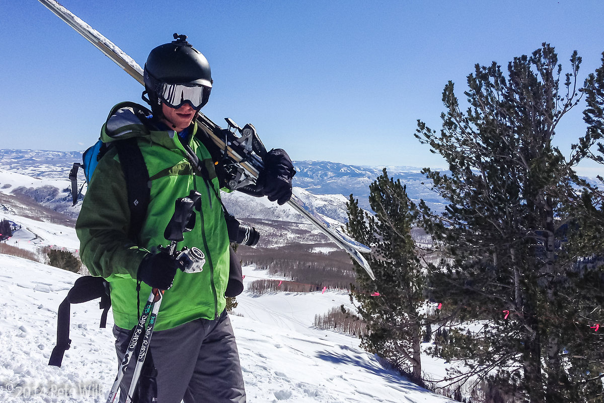 Go Pro on the pole, SLR around the shoulder, beautiful Utah mountains in the background.