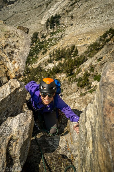 Not sure which pitch, maybe 4 or 5 of Irene's Arete (5.8).