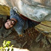 Paul climbing Morning Dew (5.12a)