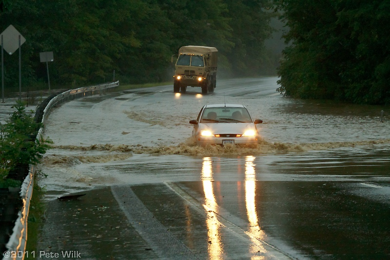 I-91 near exit 5 in Vermont after Hurricane Irene.  Shortly after this was taken the interstate was closed down.