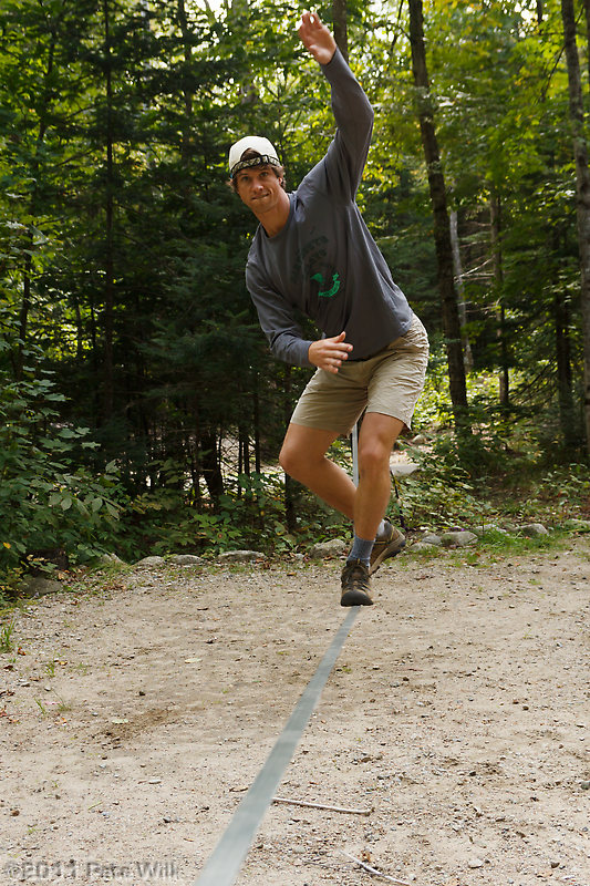 Drew styling it up on the slackline.