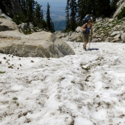 There was still snow in many spots after getting into the talus.
