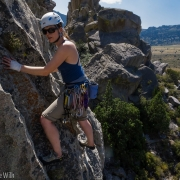 Carly making the slabby traverse over to the chains.