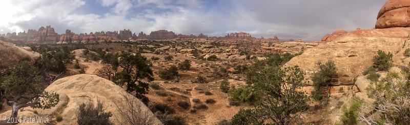 Panoramic view deep into Canyonlands National Park.