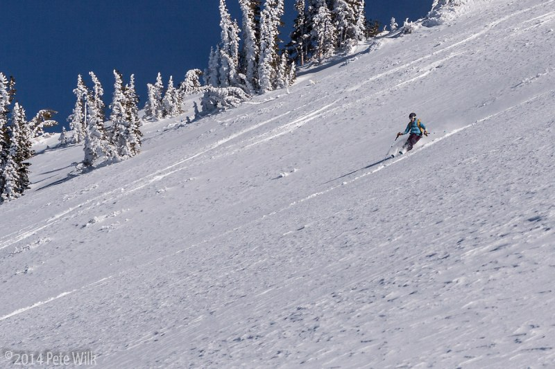 Cruising some sweet turns.  A little bit of sun crust in spots, but overall a great run.