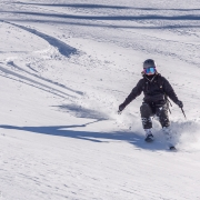 Carly working the slope.