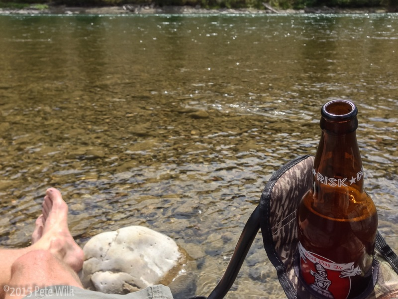 What does one do after a sub-12 hour trip up the Grand?  Sit on a river and drink a beer!