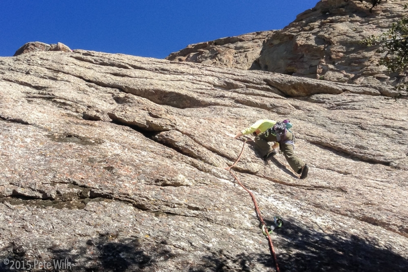 Carly leading me up the classic Theater of Shadows (5.7).