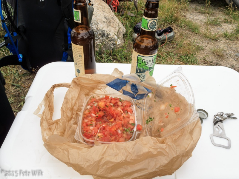 Victory beers and salsa waiting for us back at the car after our 3 day venture into the alpine.