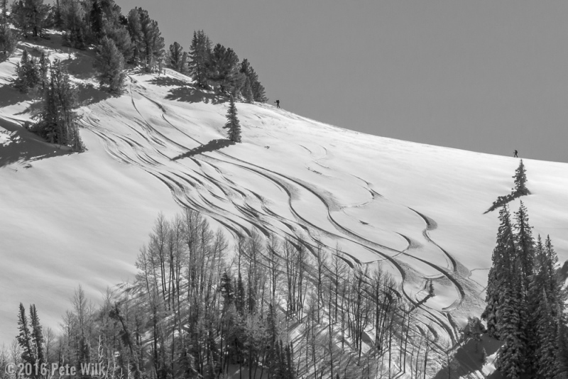 Skiers approaching the top of Beartrap Galdes.